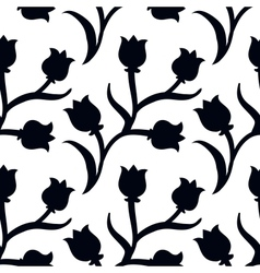 Ditsy floral pattern with black tulips on white vector
