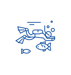 diving line icon concept diving flat vector image