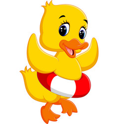 duck playing with inflatable ring vector image