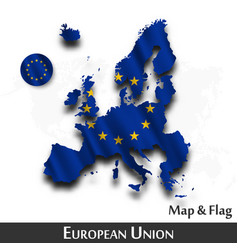 European union map and flag eu waving vector