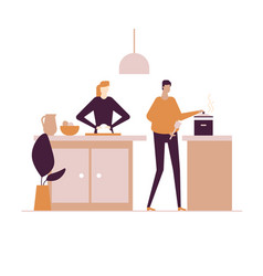 Family cooking - flat design style colorful vector