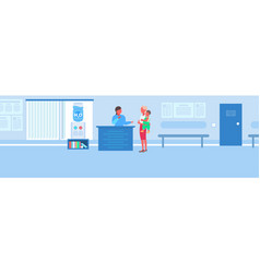 female nurse at reception desk with mother and son vector image
