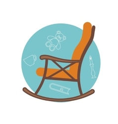 Flat of rocking chair vector