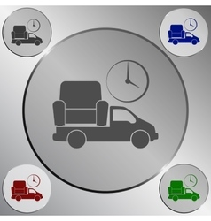 Flat paper cut style icon of vehicle delivering vector image