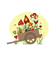 Floral arrangement from hearts in cart on a vector