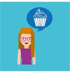 Girl cartoon cupcake dessert icon vector