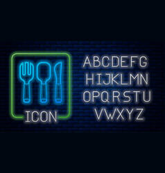 Glowing neon fork spoon and knife icon isolated vector