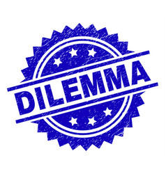 Grunge textured dilemma stamp seal vector