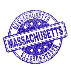 grunge textured massachusetts stamp seal vector image