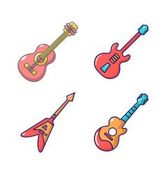 guitar icon set cartoon style vector image