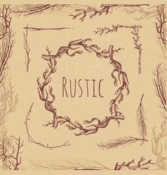 hand drawn rustic branches vintage style rustic vector image