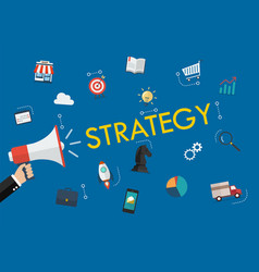 hand holding megaphone with strategy word and vector image
