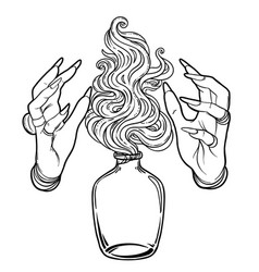 Hand witch with fire mystic character alchemy vector