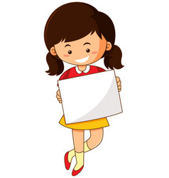 happy girl holding white paper vector image vector image