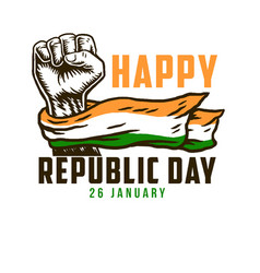 happy republic day 26 january with india national vector image