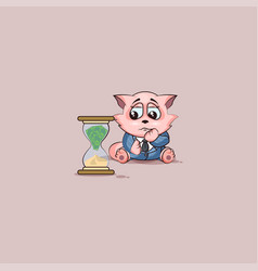 Kitty in business suit sits at hourglass vector