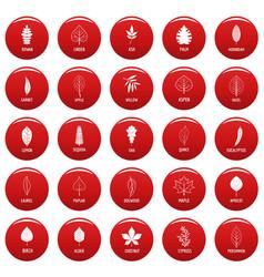 Leaf icons set vetor red vector