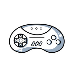line videogame controller with buttons to play in vector image