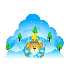 Little bear fell while skiing vector image