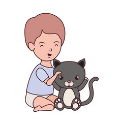 Little kid playing with lovely kitten vector