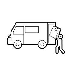 logistic delivery worker box loader truck van vector image