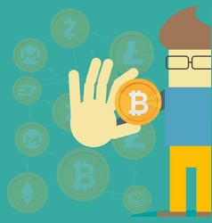 man hold bitcoin coin money flat cartoon vector image