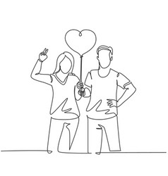 Marriage anniversary concept one single line vector