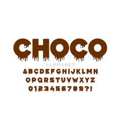 melted dripping chocolate style font design vector image