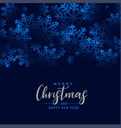 merry christmas beautiful snowflakes blue vector image