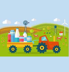 milk eco farm concept in flat style design vector image
