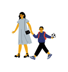 Mother leading her son student to school cute boy vector