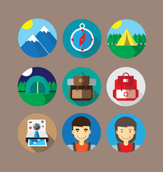 Mountain and Camp Icon vector