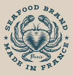 nautical badge with a crab in egrave style vector image