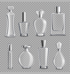 Perfume glass bottles realistic transparent vector