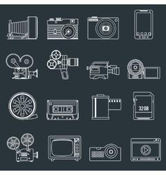 Photo video icons set outline vector image