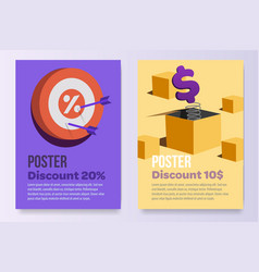 Posters set promotion a4 paper afisha sell stock vector