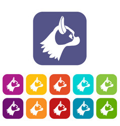 pug dog icons set vector image vector image