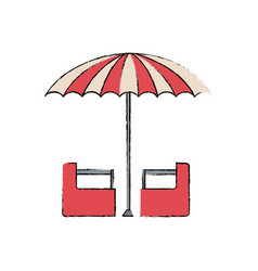 Red and white umbrella circus equipment vector