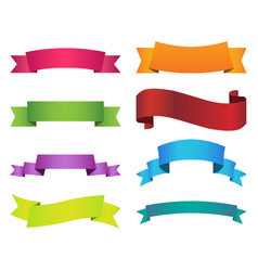 Ribbon set color on white background vector