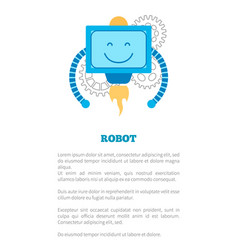 Robot with smile poster text vector