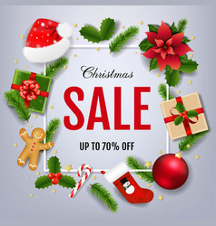 sale xmas banner with poinsettia vector image