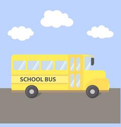 School bus yellow on road vector