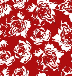 seamless floral pattern white roses on a red vector image