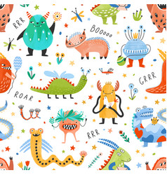 seamless pattern with amusing fantastic monsters vector image