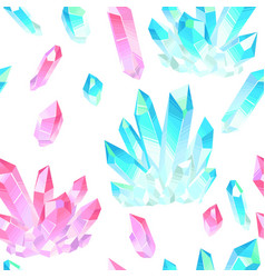 seamless pattern with crystals gems vector image