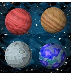 set cosmic planets in outer space vector image