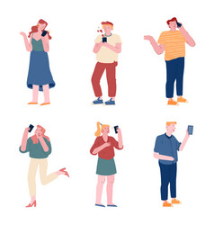 set men and women holding mobile phones vector image