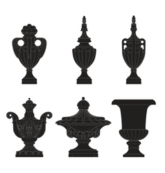 Set of classic urns planters vector