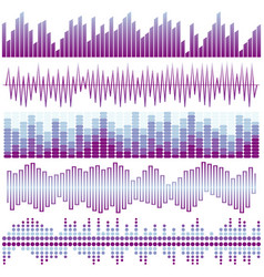 set of purple sound waves vector image