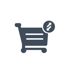 shopping cart icon put in and out cart online vector image